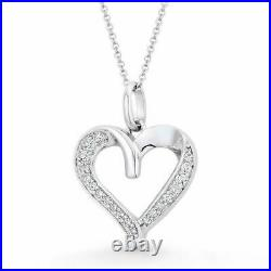 0.30tcw Round Cut Created Diamond Opem Heart Pendant Solid 14k White Gold