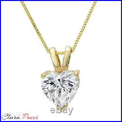 0.50Ct Heart Cut 14K Yellow GOLD SOLITAIRE PENDANT NECKLACE + 16 CHAIN