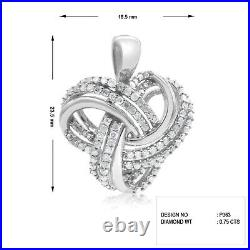 0.75 Ct Round Cut Natural White Diamond Knot Pendant Necklace Sterling Silver