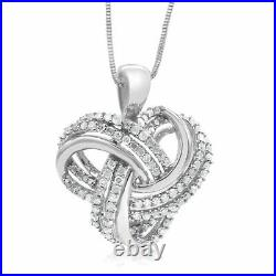 0.75 Ct Round Cut White Diamond Knot Pendant Necklace 925 Sterling Silver