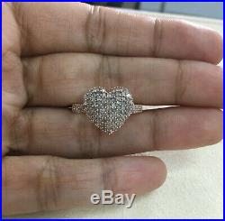 0.77 Ct Round Cut Natural White Diamond Heart Promise Ring Pink Gold Over 8