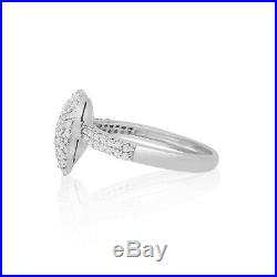 0.77 Ct Round Cut White Natural Diamond Heart Dome Promise Ring Sterling Silver