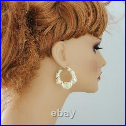 10K Real Gold XO Diamond Cut Hearts Puffy Hollow Earrings 1 1/2 Inches Wide