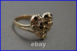 10K Solid Yellow Gold Diamond Cut Nugget Heart Ring. Size 7.5