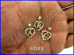 10K Solid Yellow Gold Heart Initial Letter Charm Pendant A-Z Alphabet Rope Chain