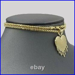 10k Dripping Heart Yellow Gold Diamond Cut Pendant with Palm Chain 20 3mm