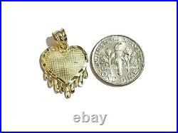 10k Gold Dripping Heart Charm Pendant 3mm Rope Chain in 18 20 22 24 26 28 Inch