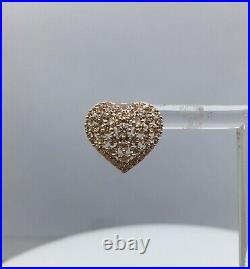 14K Rose Gold Natural Round Cut White Diamond Dome Heart Stud Earrings 1.83 ct