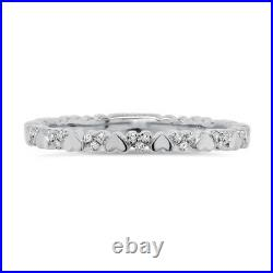 14K White Gold Diamond Heart Shape Ring Wedding Band Stackable Womens Round Cut