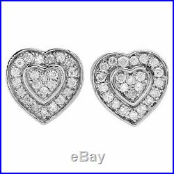 14K White Gold Over 1.50 Ct Round Cut Diamond Ladies Heart Stud Pave Earrings