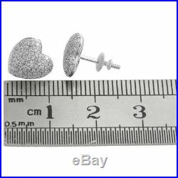 14K White Gold Over Round Cut Diamond Ladies Puff Pave Heart Shape Stud Earrings