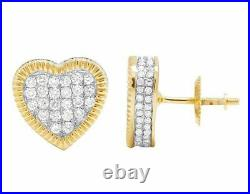14K Yellow Gold Over 1.00 CT Round Cut Diamond 3D Heart Cluster Stud Earring