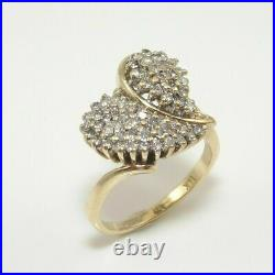 14K Yellow Gold Over 1.44 CT Round Cut Diamond Heart Cluster Ring For women's