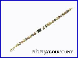 14k Gold Diamond Cut Hearts with Guadalupe ID Tri-Color Gold Bracelet 7 1/2