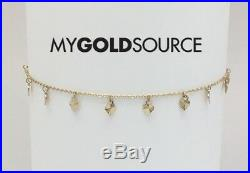 14k Gold Fancy Diamond Cut Hearts Yellow Gold Anklet Adjustable 9 10 Inches