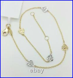 14k Yellow Gold Diamond Cut Two Tone Heart Cable Chain Anklet 9 10