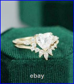 14k Yellow Gold Fn 2.20ct Heart Cut Diamond Unique Solitaire Wedding Ring Set