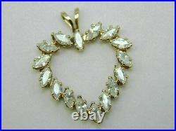 14k Yellow Gold Over 1.60 Ct Marquise Cut Diamond Party Wear Heart Pendant