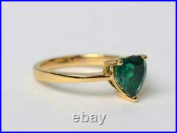 14k Yellow Gold Over 2.00 Ct Heart Cut Green Emerald Solitaire Engagement Ring