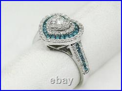 1Ct Brilliant Round Cut Diamond Halo Heart Engagement Ring 14k White Gold Over