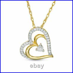 1Ct Round Cut Diamond Heart Pendant Necklaces 14K Yellow Gold Over