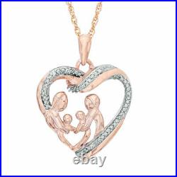 1Ct Round Cut Diamond Heart With Family Pendant Necklaces 14K Rose Gold Over
