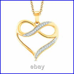 1Ct Round Cut Diamond Heart With Infinity Pendant 14K Yellow Gold Over
