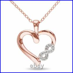 1Ct Round Cut Diamond Heart With Infinity Pendant Necklaces 14K Rose Gold Over