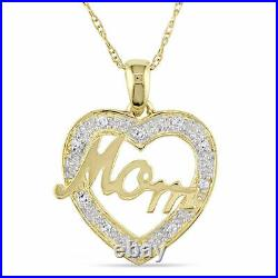 1Ct Round Cut Diamond Heart With MOM Pendant Necklaces 14K Yellow Gold Over
