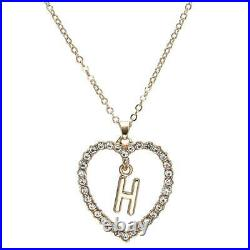 1.00CT Round Cut Diamond H Letter Pendant 14k Yellow Gold Over