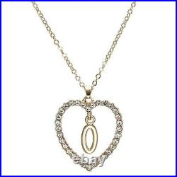 1.00CT Round Cut Diamond O Letter Pendant 14k Yellow Gold Over