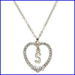 1.00CT Round Cut Diamond S Letter Pendant 14k Yellow Gold Over