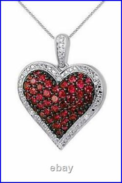 1.00Ct Round Cut Red Ruby & Diamond Heart Pendant Necklace 14K White Gold Finish