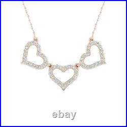 1.00 Ct Round Cut Diamond 3 Heart Pendant Necklaces 14K Rose Gold Over