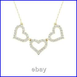 1.00 Ct Round Cut Diamond 3 Heart Pendant Necklaces 14K Yellow Gold Over