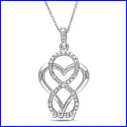 1.00 Ct Round Cut Diamond Heart Infinity Pendant Necklaces 14K Yellow Gold Over