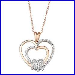 1.00 Ct Round Cut Diamond Heart Pendant Necklaces 14K Rose Gold Over