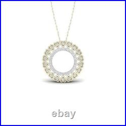 1.00 Ct Round Cut Diamond Heart Pendant Necklaces 14K Yellow Gold Over