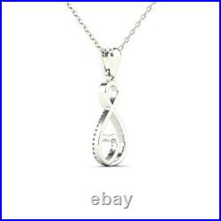 1.00 Ct Round Cut Diamond Infinity Heart Pendant Necklaces 14K White Gold Over