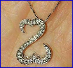 1.00 Ct Round Cut Diamond Open Your Heart Pendant Necklace 14k White Gold Over