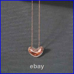 1.00 Ct Round Cut Diamond Smiley Heart Pendant Necklaces 14K Rose Gold Over