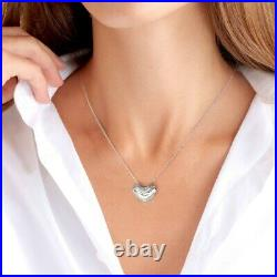 1.00 Ct Round Cut Diamond Smiley Heart Pendant Necklaces 14K White Gold Over