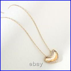 1.00 Ct Round Cut Diamond Smiley Heart Pendant Necklaces 14K Yellow Gold Over