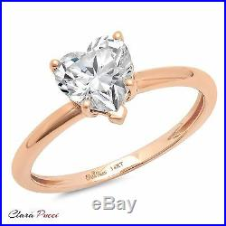 1.0CT BRILLIANT HEART SHAPED CUT SOLITAIRE ENGAGEMENT RING REAL 14K Rose GOLD