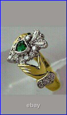1.25 Ct Heart Cut Emerald & Diamond Claddagh Women's Ring 14k Two Tone Gold Over