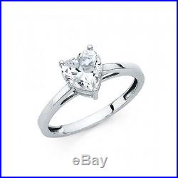 1.25 Ct Heart Cut Solitaire Engagement Wedding Promise Ring Solid 14K White Gold