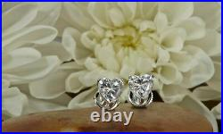 1.25 ct Heart Cut Stud Solitaire Earrings Gift 14k White Gold Over Screw Back