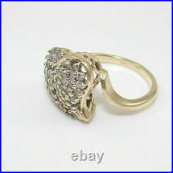 1.44 CT Round Cut Diamond Heart Cluster Ring 14K Yellow Gold Over