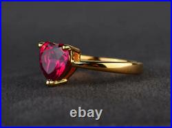 1.50 Ct Heart Cut Red Ruby Solitaire Engagement Ring 14K Yellow Gold Over