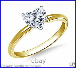 1.50 Ct Heart Cut Solitaire Engagement Wedding Ring Solid 14K Yellow Gold